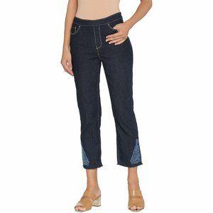16 Susan Graver Straight Stretch Denim Pants Pull